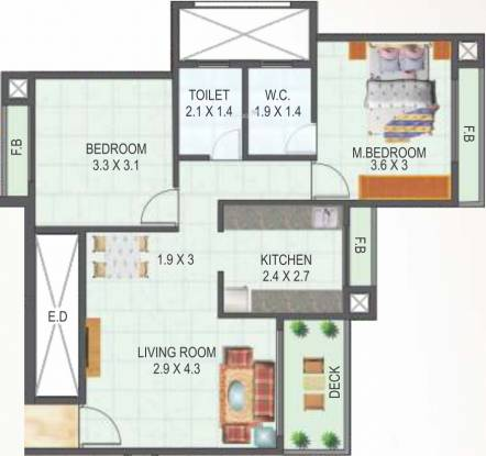 Tricity Skyline (2BHK+2T (1,086 sq ft) Apartment 1086 sq ft)