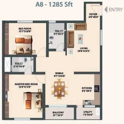 Aditi Eloquent (2BHK+2T (1,285 sq ft) Apartment 1285 sq ft)