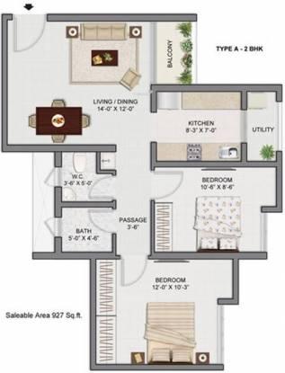 Galaxy Group Vineet (2BHK+2T (927 sq ft) Apartment 927 sq ft)