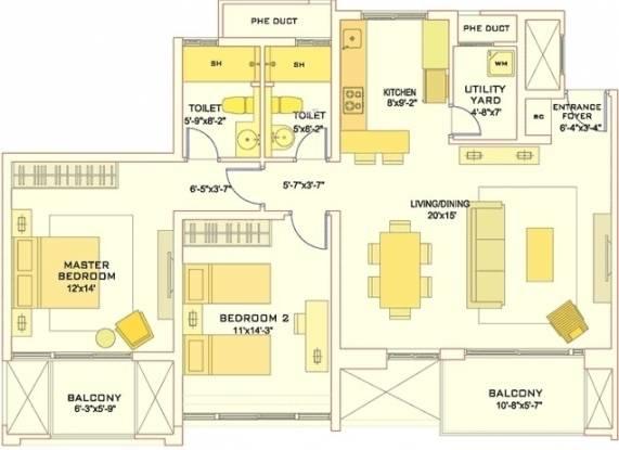TATA Aquila Heights (2BHK+2T (1,418 sq ft) Apartment 1418 sq ft)