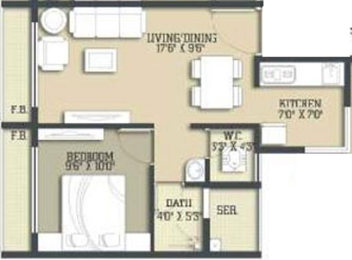 Kaamdhenu Sai Nakshatra (1BHK+1T (685 sq ft) Apartment 685 sq ft)