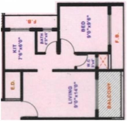 Krishna Orchid (1BHK+1T (625 sq ft) Apartment 625 sq ft)
