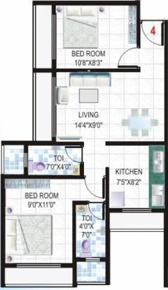 Ganesha Sai Nakshatra (2BHK+2T (1,025 sq ft) Apartment 1025 sq ft)