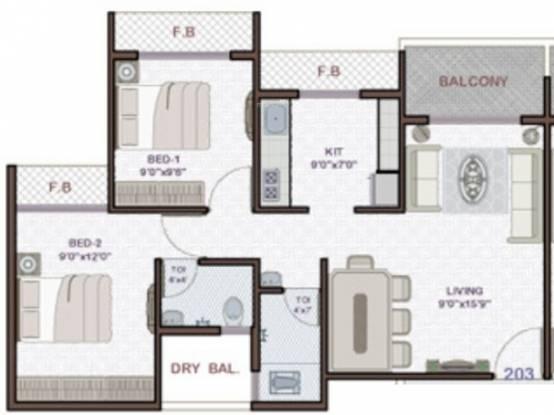 Platinum Venecia (2BHK+2T (1,075 sq ft) Apartment 1075 sq ft)