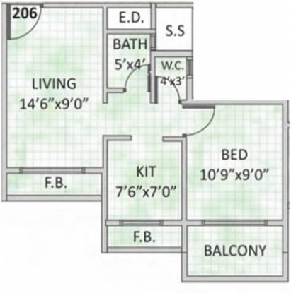 Platinum Aura (1BHK+1T (650 sq ft) Apartment 650 sq ft)