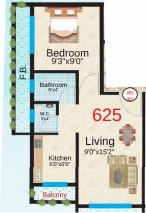 Sapphire Springs (1BHK+1T (625 sq ft) Apartment 625 sq ft)