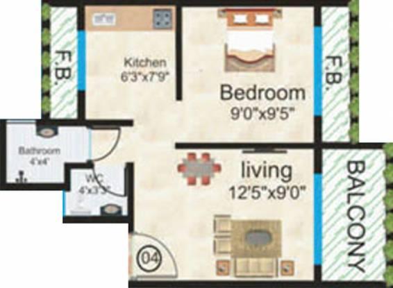Sapphire Gods Gift (1BHK+1T (680 sq ft) Apartment 680 sq ft)