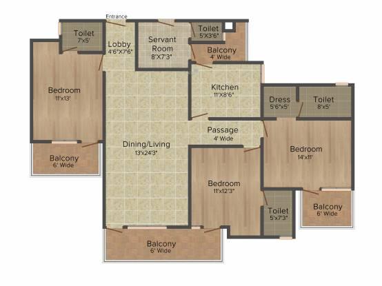 Parkwood Meadow Greens (3BHK+4T (1,770 sq ft)   Servant Room Apartment 1770 sq ft)