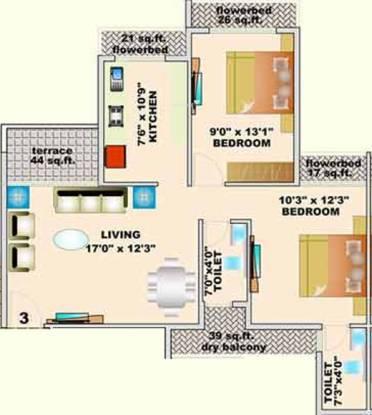 Kamdhenu Lifespaces Oaklands (2BHK+2T (1,158 sq ft) Apartment 1158 sq ft)