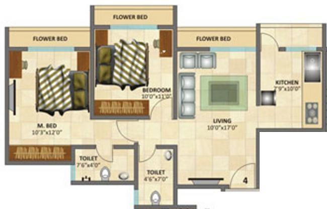 Rosa Elite (2BHK+2T (910 sq ft) Apartment 910 sq ft)