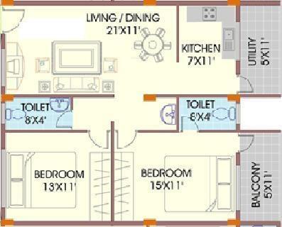 Mahaveer Marvel (2BHK+2T (1,125 sq ft) Apartment 1125 sq ft)