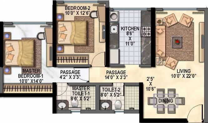 Raheja Reflections Eternity (2BHK+2T (1,103 sq ft) Apartment 1103 sq ft)