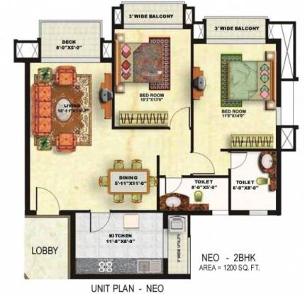 Shipra Neo (2BHK+2T (1,200 sq ft) Apartment 1200 sq ft)