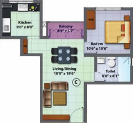 KGS Prime Rose (1BHK+1T (735 sq ft) Apartment 735 sq ft)