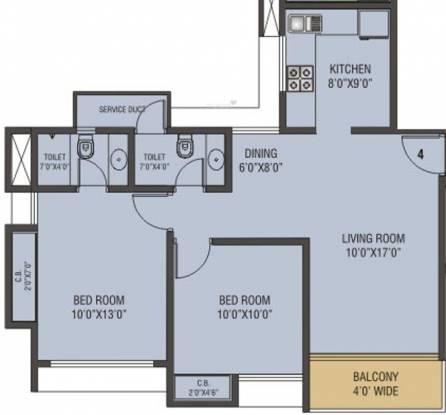 Siddhi Highland Gardens (2BHK+2T (1,012 sq ft) Apartment 1012 sq ft)