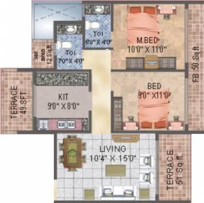 BKS Orion (2BHK+2T (1,100 sq ft) Apartment 1100 sq ft)