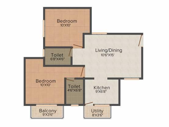 Aswani Aaeesha (2BHK+2T (775 sq ft) Apartment 775 sq ft)