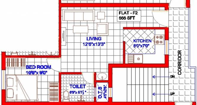 Oyester HIll Crest (1BHK+1T (555 sq ft) Apartment 555 sq ft)