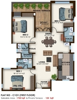 Ceebros Belvedere (3BHK+3T (1,750 sq ft)   Pooja Room Apartment 1750 sq ft)