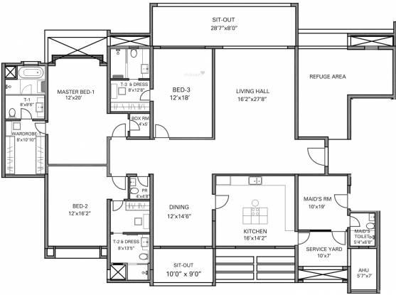 Panchshil Eon Waterfront (3BHK+4T (3,696 sq ft) + Servant Room Apartment 3696 sq ft)