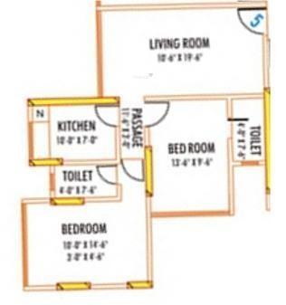 AP Panchritu (2BHK+2T (900 sq ft) Apartment 900 sq ft)