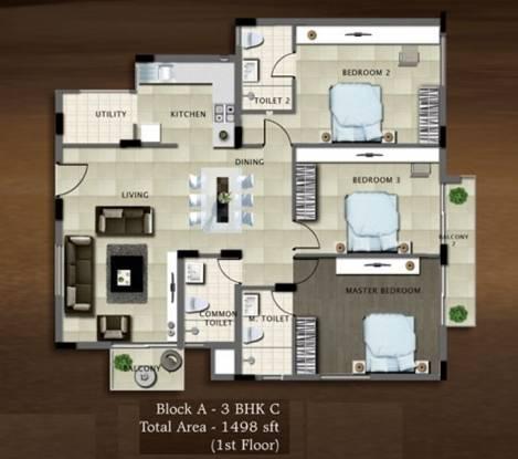 Bren Paddington (3BHK+3T (1,498 sq ft) Apartment 1498 sq ft)