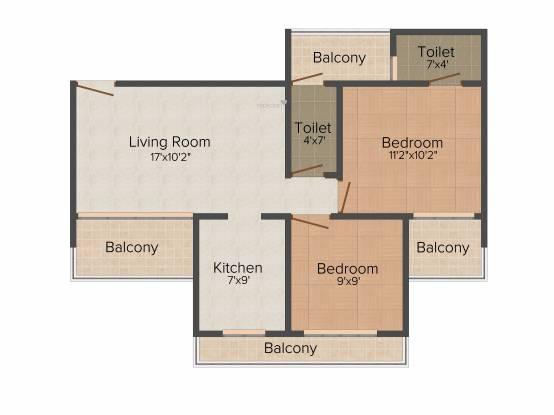 Paradise Sai Solitaire (2BHK+2T (1,255 sq ft) Apartment 1255 sq ft)