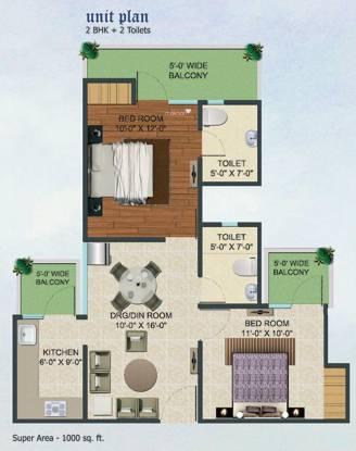 Supertech Fable Castle (2BHK+2T (1,000 sq ft) Apartment 1000 sq ft)