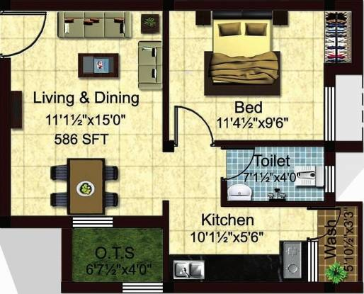 StepsStone Krishu (1BHK+1T (586 sq ft) Apartment 586 sq ft)