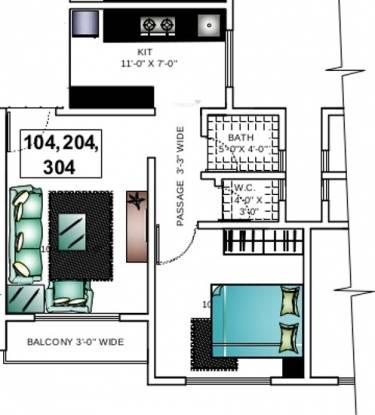 Ashapura Asha Paradise (1BHK+1T (575 sq ft) Apartment 575 sq ft)