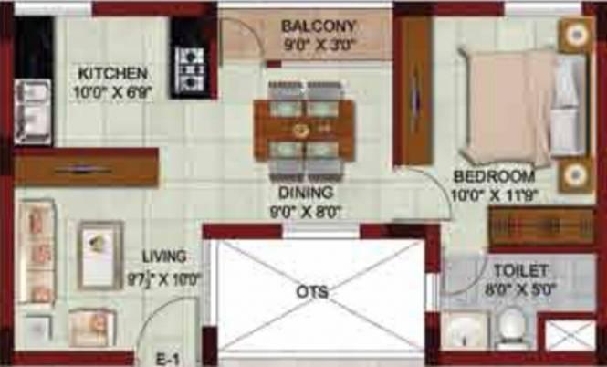 Muktha Triveni (1BHK+1T (642 sq ft) Apartment 642 sq ft)
