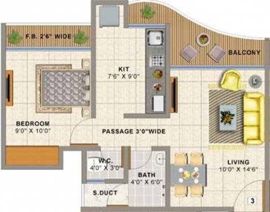 Sai Balaji Atlanta Edenworld (1BHK+1T (635 sq ft) Apartment 635 sq ft)