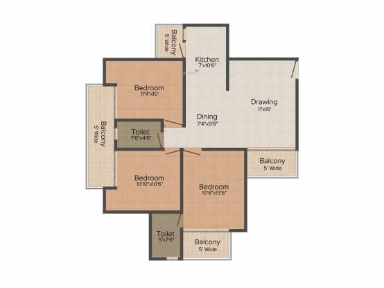 Elegant Splendour (3BHK+3T (1,458 sq ft) Apartment 1458 sq ft)