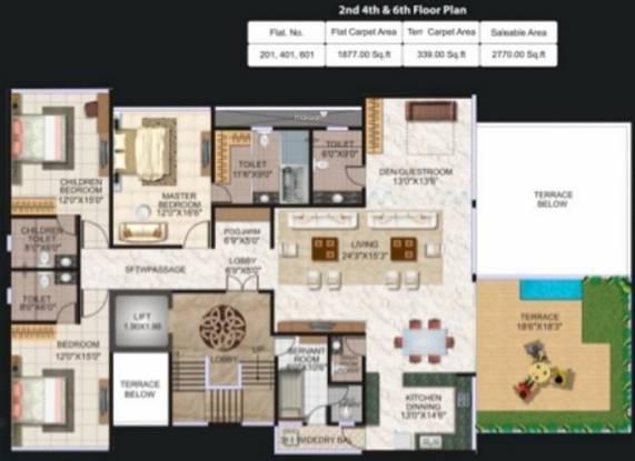 Pristine Luxor (4BHK+4T (2,770 sq ft) + Servant Room Apartment 2770 sq ft)