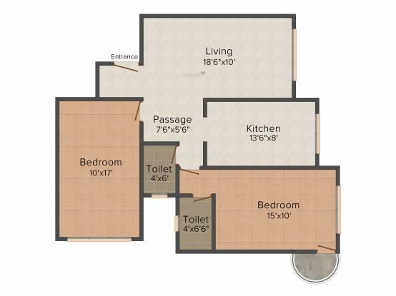 Sagar Avenue 2 (2BHK+2T (1,293 sq ft) Apartment 1293 sq ft)