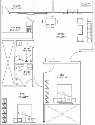 Vmaks Rangoli (2BHK+2T (1,229 sq ft) Apartment 1229 sq ft)