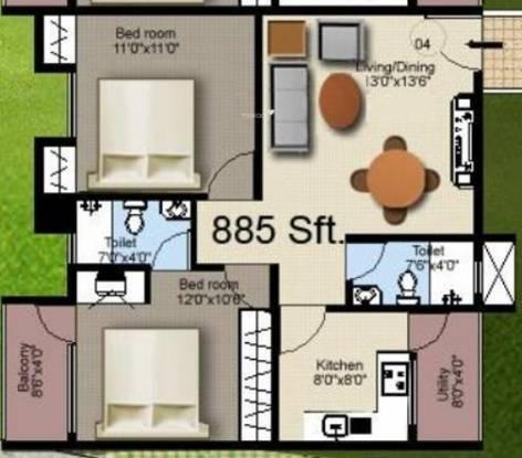 Mahaveer Sanctum Annex (2BHK+2T (885 sq ft) Apartment 885 sq ft)