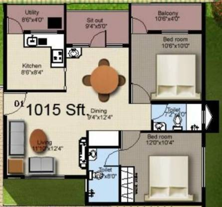 Mahaveer Sanctum Annex (2BHK+2T (1,015 sq ft) Apartment 1015 sq ft)