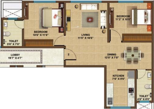 Manchester Heights (2BHK+2T (640 sq ft) Apartment 640 sq ft)