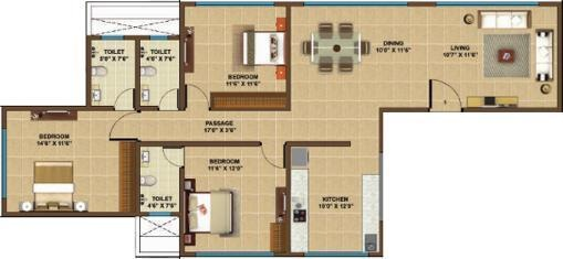 Manchester Heights (3BHK+3T (1,207 sq ft) Apartment 1207 sq ft)