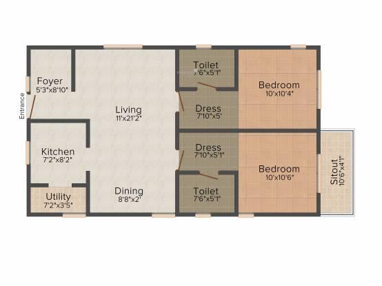Vijaya SpringWoods (2BHK+2T (1,040 sq ft) Apartment 1040 sq ft)