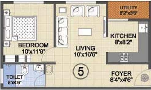 Ankshu Wisteria (1BHK+1T (635 sq ft) Apartment 635 sq ft)