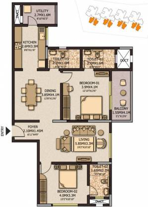 Sobha City Casa Serenita (2BHK+3T (1,519 sq ft) Apartment 1519 sq ft)