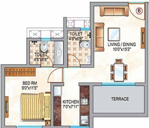 Neptune Swarajya (1BHK+2T (387 sq ft) Apartment 387 sq ft)