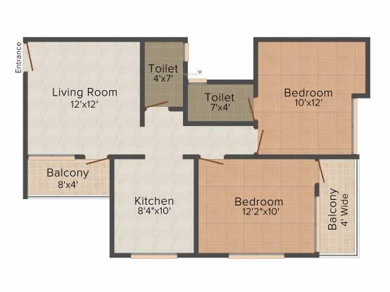 Bhandari Ivory (2BHK+2T (841 sq ft) Apartment 841 sq ft)