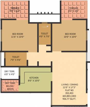 Gauree Atlantica East (2BHK+2T (927 sq ft) Apartment 927 sq ft)