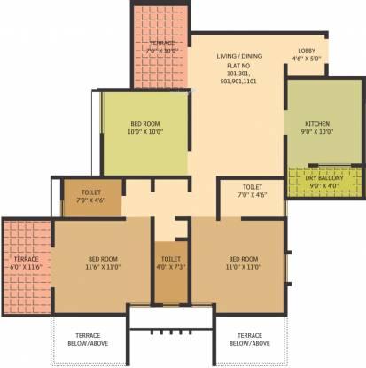 Gauree Atlantica East (3BHK+3T (1,250 sq ft) Apartment 1250 sq ft)