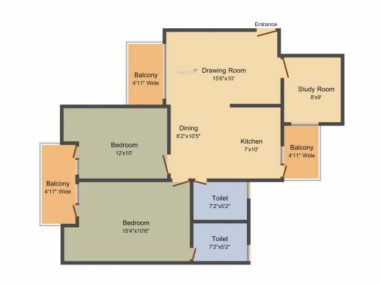 Panchsheel Pratishtha (2BHK+2T (1,310 sq ft)   Study Room Apartment 1310 sq ft)