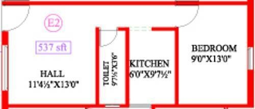 Antony Coral Sands (1BHK+1T (537 sq ft) Apartment 537 sq ft)