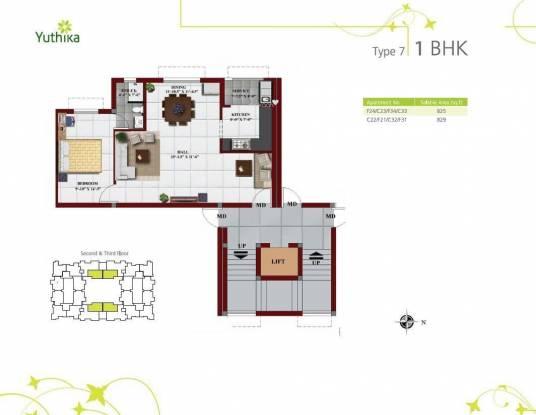 Kaaviya Yuthika (1BHK+1T (825 sq ft) Apartment 825 sq ft)